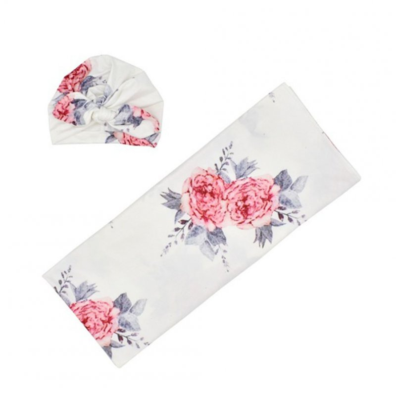 Newborn Photography Blanket Rabbit Ear Cap Blanket set Floral Printing Headgear Blanket set White blankets with flowers_80*80