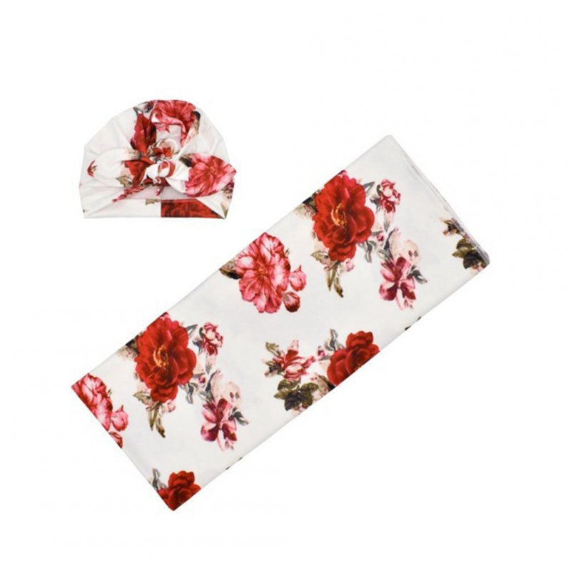 Newborn Photography Blanket Rabbit Ear Cap Blanket set Floral Printing Headgear Blanket set White blankets withred flowers_80*80