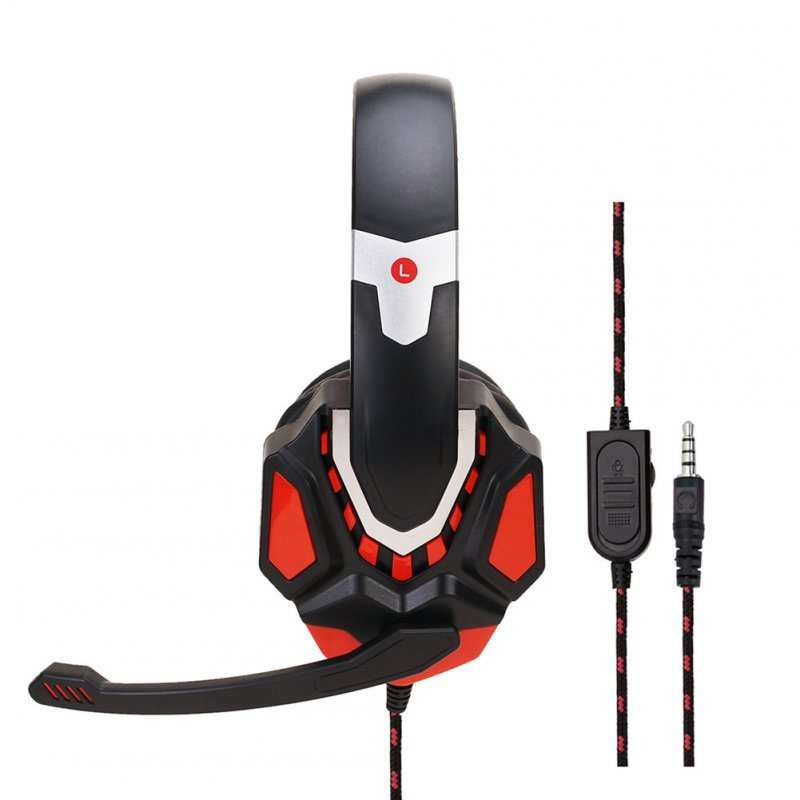 Non-lighting Gaming Headset Internet Cafe Headphone for PS4 Gaming Computer Switch Black Red PS4