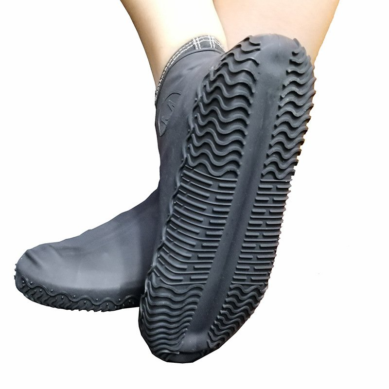 Non-slip Silicone Overshoes Reusable Waterproof Rainproof Shoes Covers Black L
