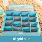 Non woven Drawer Closet Organizer Antibacterial Box for Underwear Bra Scarfs Socks Home Storage 16 grid blue