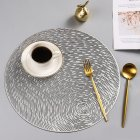 Nonslip Round Shape Hollow Heat Insulation Placemat for Hotel Restaurant Silver