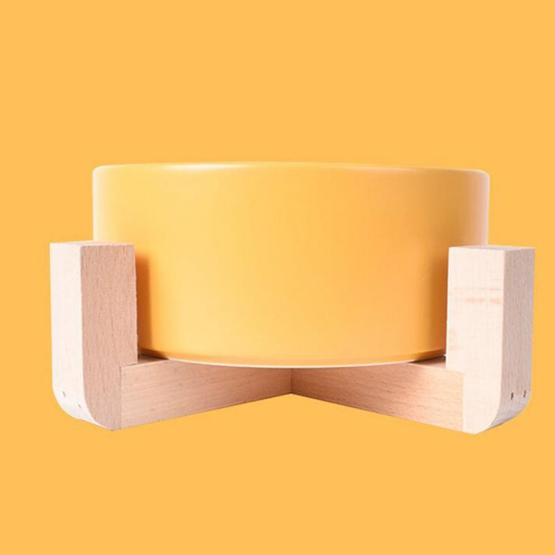 Nonslip Wooden Neck Guard Stand + Ceramic Bowl for Pet Cats Dogs Feeding yellow_16*9*7cm