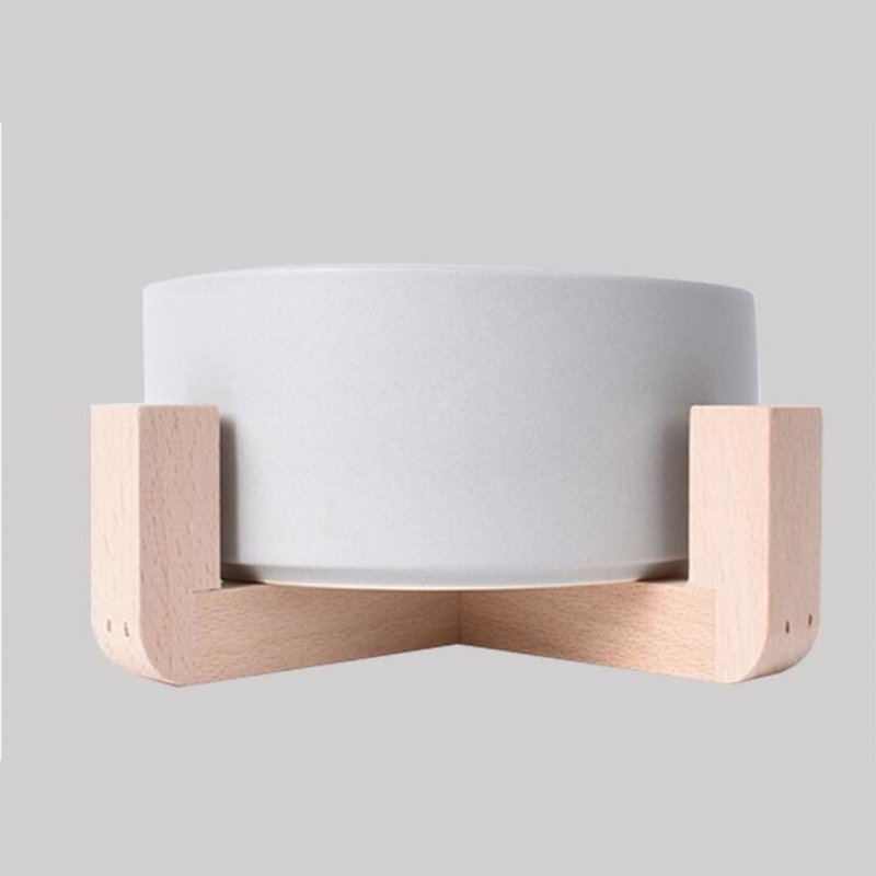 Nonslip Wooden Neck Guard Stand + Ceramic Bowl for Pet Cats Dogs Feeding gray_16*9*7cm