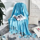 Nordic Style Throw Blankets with Knitted Tassels for Sofa Sleeping Bed End Cover Light blue