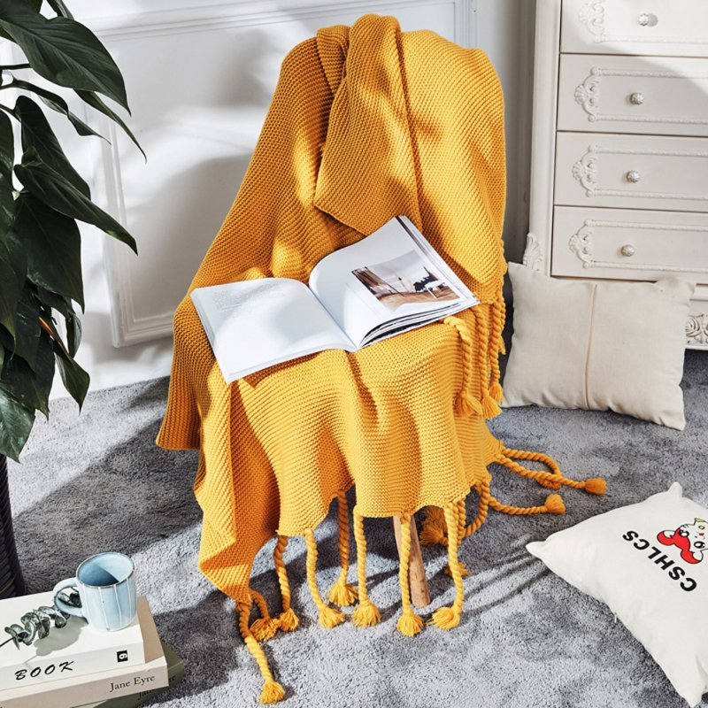Nordic Style Throw Blankets with Knitted Tassels for Sofa Sleeping Bed End Cover yellow