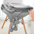 Nordic Tassels Knitted Blanket Pineapple Texture Air Conditioning Sofa Cover Blanket Light gray