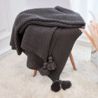Nordic Tassels Knitted Blanket Pineapple Texture Air Conditioning Sofa Cover Blanket medium grey