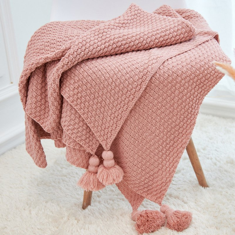 Nordic Tassels Knitted Blanket Pineapple Texture Air Conditioning Sofa Cover Blanket Leather pink