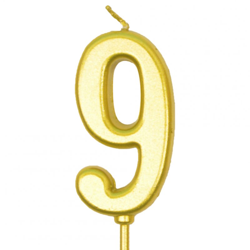 Number Candle Smokeless Gold Color Birthday Cake Topper Decorations Party Cake Supplies Number 9