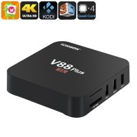 SCISHION V88 Plus TV Box - 4K Resolution, 3D Movie Support, Android OS, Google Play, Quad-Core CPU, 2GB RAM, KODI TV