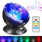 Ocean Wave Projector LED Night Light with Music Player Remote Control Lamp RGB_black