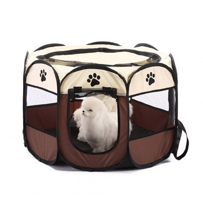 Octagon Waterproof Scratch-Resistant Foldable Nest Oxford Cloth Pet Nest Litter coffee_73 * 73 * 43