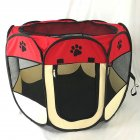 Octagon Waterproof Scratch-Resistant Foldable Nest Oxford Cloth Pet Nest Litter beige red_73 * 73 * 43