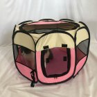 Octagon Waterproof Scratch-Resistant Foldable Nest Oxford Cloth Pet Nest Litter beige pink_73 * 73 * 43