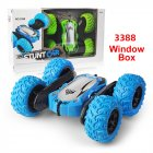 Off-road RC Car Toy Four Wheel Drive Stunt Car with Cool Lights 2.4G Stunt Double-sided Model blue_Window Box