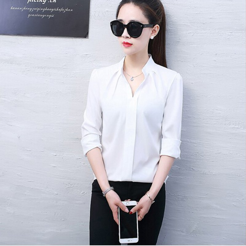 Lady Long Sleeve Chiffon Shirt Blouse