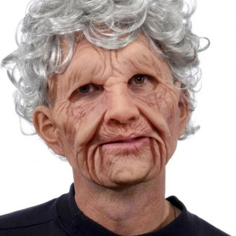 Old Man Mask Moving Mouth Headgear for Halloween Party Performance Prop Grandma