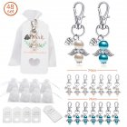 Organza Bags Key Chain Tag Set Angel Wings Shape Hanging Pendant for Wedding Decor 48pcs