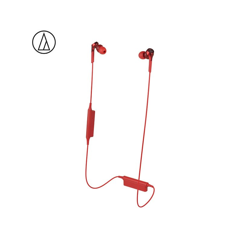 Original Audio Technica ATH-CKS550XBT Bluetooth Earphone Wireless Sports Headset Compatible With IOS Android Huawei Xiaomi Oppo Cellphone Red