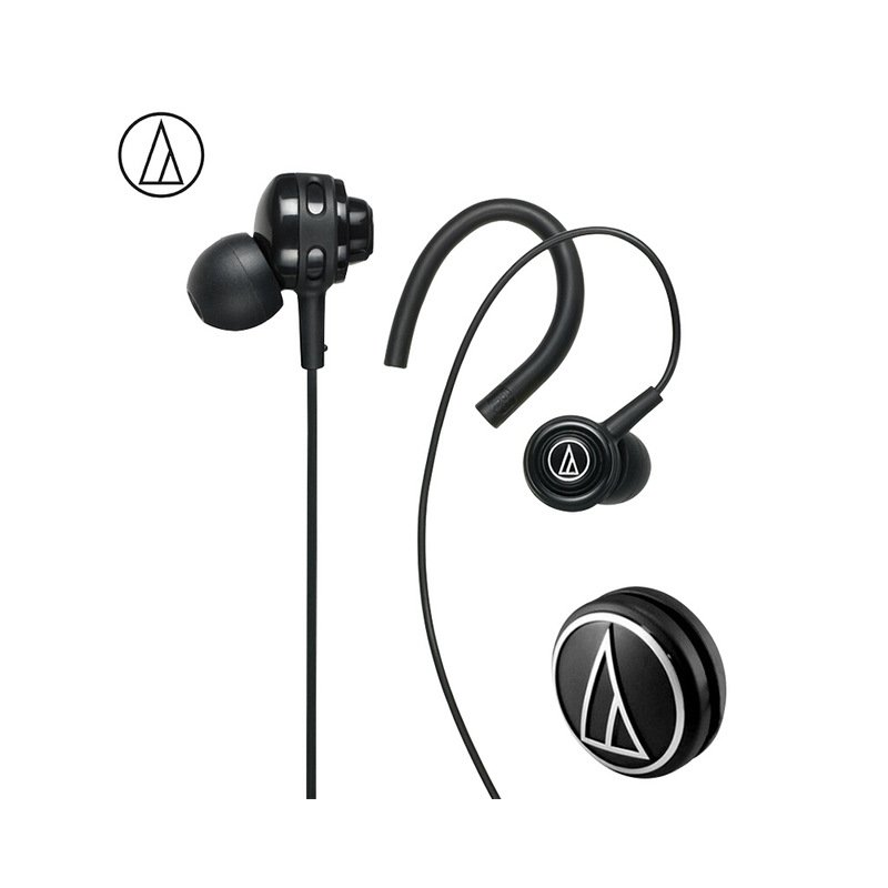 Original Audio-Technica ATH-COR150 Wired Earphone In-ear Sport Headset Adjustable Ear-hook Headphone Sweatproof Design Black