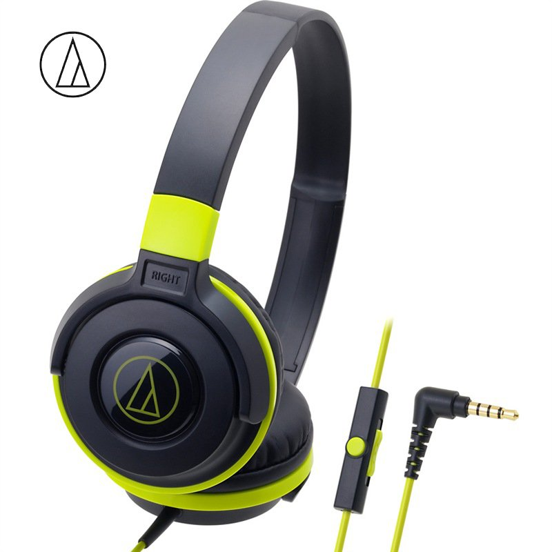 Original Audio-Technica ATH-S100iS Headset Wired Control Game Headphone with Micphone Bass Music Earphone for Cellphones Computer Yellow