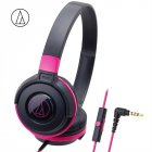 Original Audio Technica ATH-S100iS Headset Wired Control Game Headphone with Micphone Bass Music Earphone for Cellphones Computer Pink