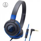 Original Audio Technica ATH-S100iS Headset Wired Control Game Headphone with Micphone Bass Music Earphone for Cellphones Computer Blue