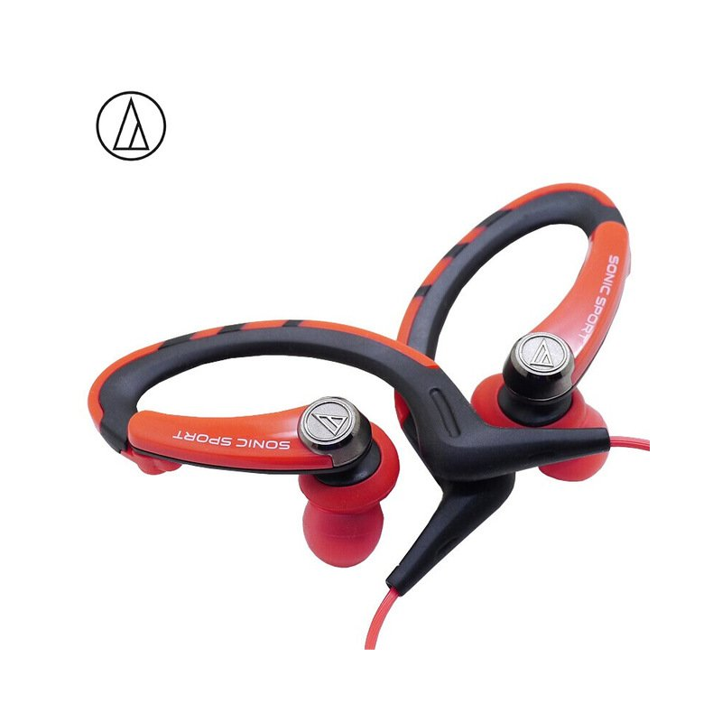 Original Audio-Technica ATH-SPORT1iS In-ear Wired Sport Earphone With Wire Control With IPX5 Waterproof For IOS Android Smartphone Red