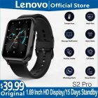 Original LENOVO S2 Pro Smartwatch 1.69-inch Hd Screen Waterproof Fitness Heart Rate Sleep Monitoring Smart Watch black
