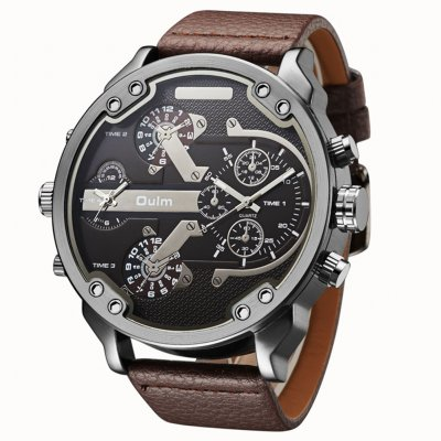 Oulm Men Business Quartz Leather Watch Coffee