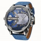 Oulm Men Business Two Time Zone Quartz Stylish Luxury Leather Watch Denim Blue