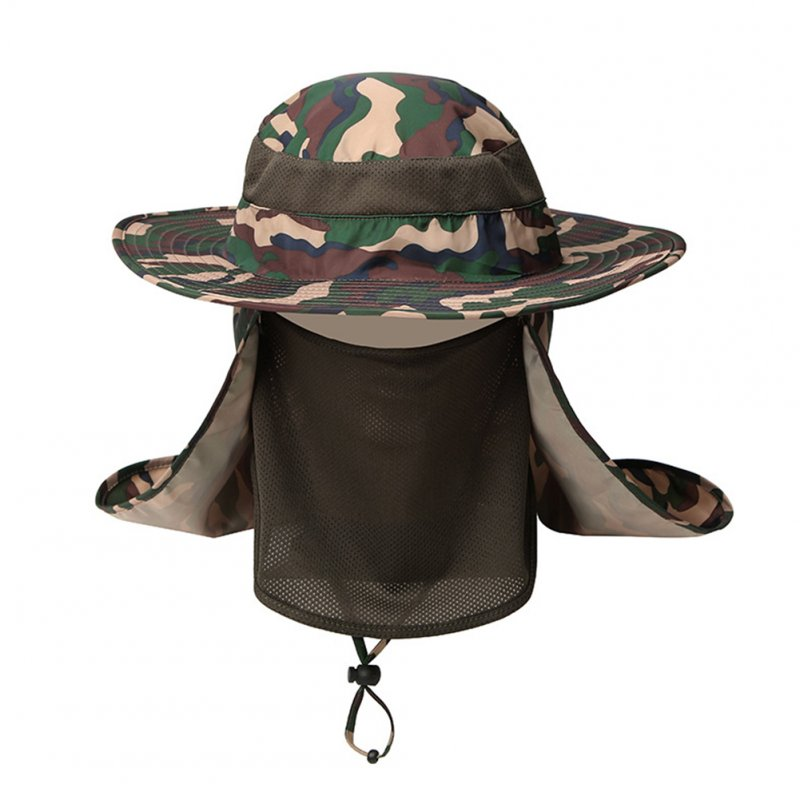 Outdoor Camouflage Hat with Mask Cover Fishing Mountaineering Sun-proof Camouflage card green_adjustable