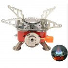 Outdoor Camping Picnic Gas Stove Mini Foldable Gas Burner Cooking Tool Furnace  Silver