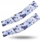 Outdoor Cycling Sunscreen Arm Sleeve Camouflage Cooling Sunshade Elastic Hand Elbow Cover Navy blue camouflage_One size