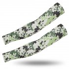 Outdoor Cycling Sunscreen Arm Sleeve Camouflage Cooling Sunshade Elastic Hand Elbow Cover Light green dot camouflage_One size