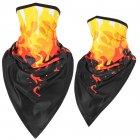Outdoor Cycling Triangle Scarf Ice Silk Enlarged Face and Neck Sunscreen Mask  Red flame_Quick-drying triangle