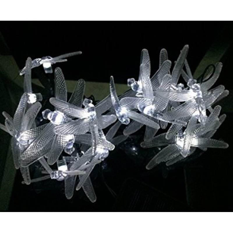 Outdoor Dragonfly Solar String Lights, 16ft 20 LED 2 Modes Fairy Lighting for Christmas Trees, Garden, (Warm White)