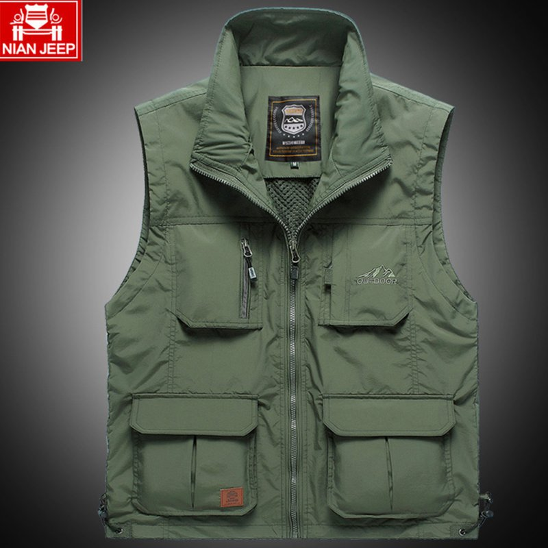 Outdoor Fishing Vest Quick-drying Breathable Mesh Jacket for Photography Hiking Army Green_L
