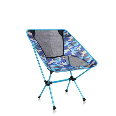 Outdoor Foldable Chair Oxford Camouflage Cloth Portable Chair for Camping Beach  Navy blue camouflage