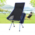 Outdoor Folding Chair Barbecue Chair Recliner BBQ Folding Chair Fishing Chair Aluminum Alloy Chair Navy blue_40 * 43.5cm