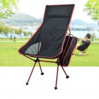 Outdoor Folding Chair Barbecue Chair Recliner BBQ Folding Chair Fishing Chair Aluminum Alloy Chair red 40   43 5cm