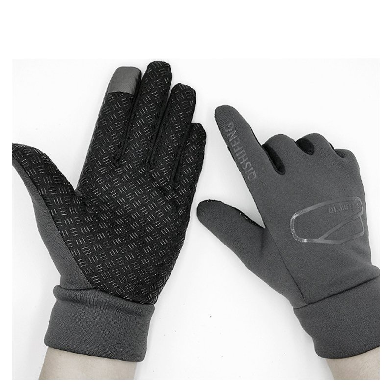 Outdoor Gloves Fleece Antiskid Winter Cycling Gloves Touch Screen Windproof Sport Gloves For Bike Motorcycle Warm Glove gray_One size