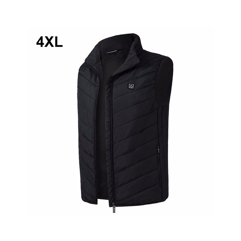 Outdoor Men Electric Heated Vest USB Winter Thermal Cloth Feather Camping Hiking Hunting Jacket black_4XL