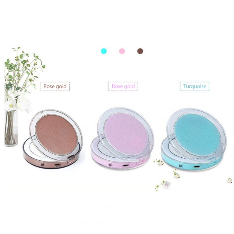 Outdoor Multi-Function Wireless Charging Portable Led Vanity Mirror Make Up Accessories Pink