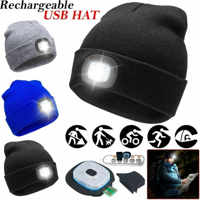 Outdoor Running Beanie Unisex Climbing Hat Fishing Camping Knitted LED Light