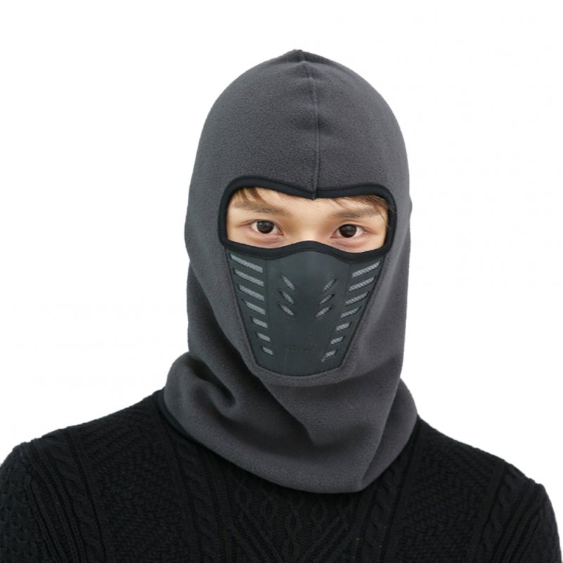 Outdoor Sleeve Cap Winter Warm Bicycle Face Mask Bike Climbing Skiing Windproof Thermal Polar Fleece Head Protector Dark gray_Polar fleece
