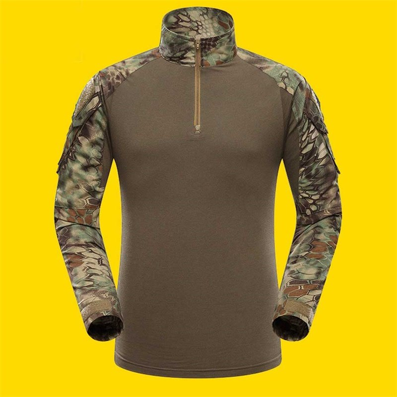 Outdoor Sports Men Military Camouflage Hunting Clothing Soldiers Combat Tactical T-Shirt Long Sleeve Frog T-Shirts Green python pattern_L