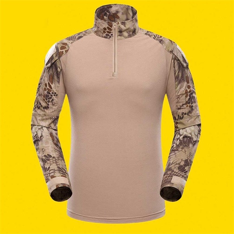 Outdoor Sports Men Military Camouflage Hunting Clothing Soldiers Combat Tactical T-Shirt Long Sleeve Frog T-Shirts Sand python pattern_L