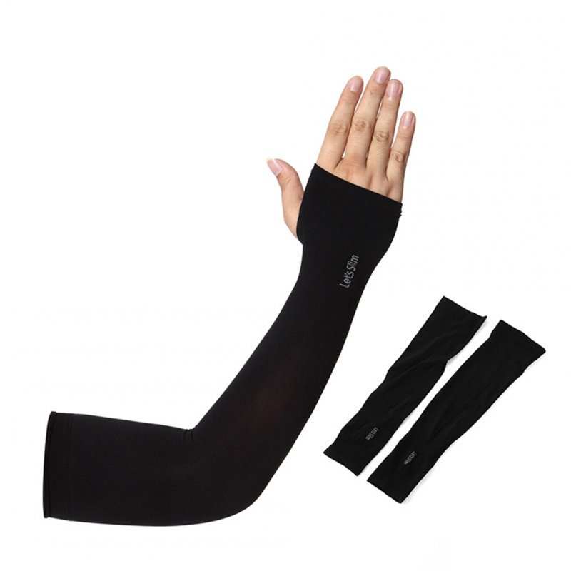 Outdoor Summer Ice Silk Sunscreen Riding Driving Arm Sleeve Cover black